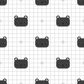 Cute black panther on grid cartoon seamless pattern