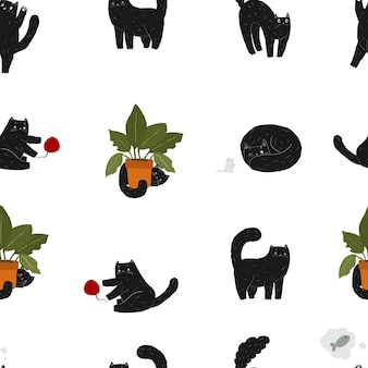 Cute black pet cat seamless pattern kawaii halloween animal scary cat mouse and plant