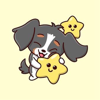 かわいい黒い子犬が遊んでいて、大きな星の漫画のイラストを抱きしめています