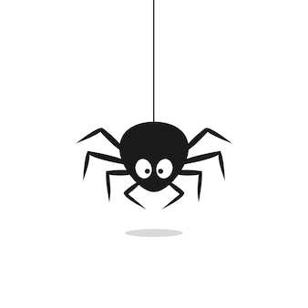 Cute black spider hangs on a spider web isolated on white background. vector illustration eps 10