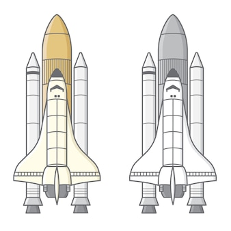 Cute black and white rocket launch illustration