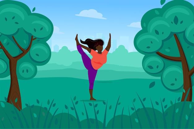 귀여운 흑인 여성은 자연 속에서 요가, 스트레칭 및 신체 운동을합니다.