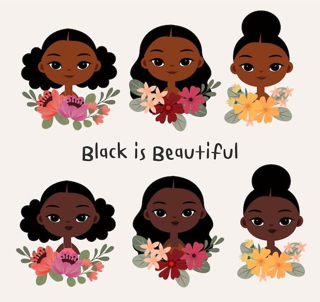 さまざまな髪型のかわいい黒人女性