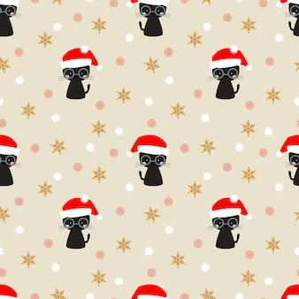 Cute blackcat in christmas season seamless pattern.