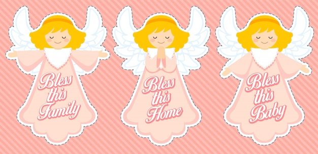 Cute blessing angel, baby girl decoration
