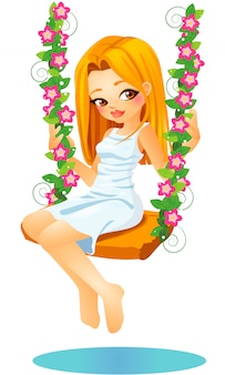 Cute blond vector cartoon girl sitting on a floreal swing