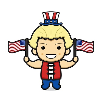 Cute blonde boy cartoon with united states of america print in his hat and in two flags illustration
