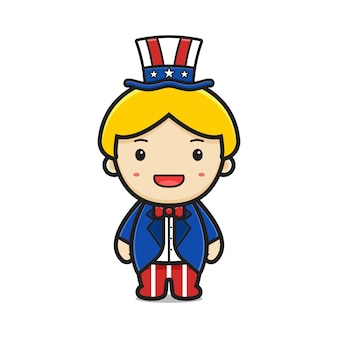 Cute blonde boy cartoon with united states of america print suit and hat illustration