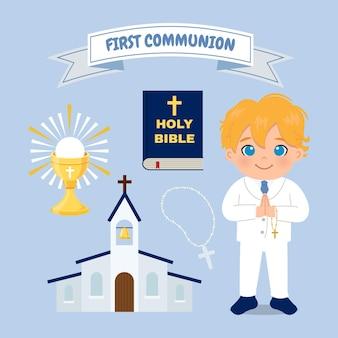 Cute blonde boy first communion