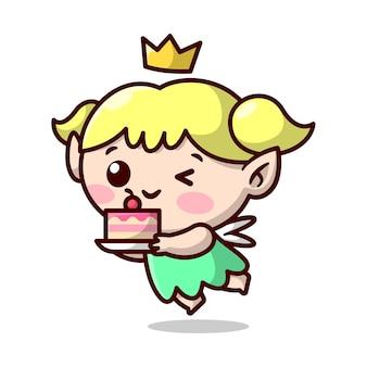 황금 왕관을 쓴 귀여운 금발 요정이 맛있는 케이크를 가져오고 있습니다. 고품질 만화 마스코트 디자인