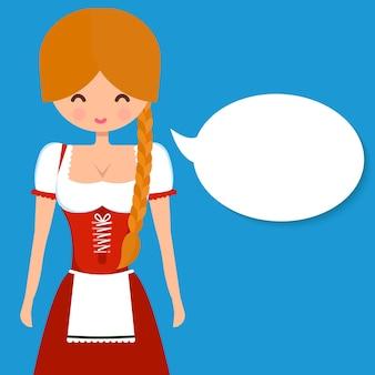 ピグテールと空白の吹き出しと伝統的なドイツのドレスギャザースカートでかわいいブロンドの女の子。オクトーバーフェストとビールバーのデザインのベクトルフラット文字イラスト。