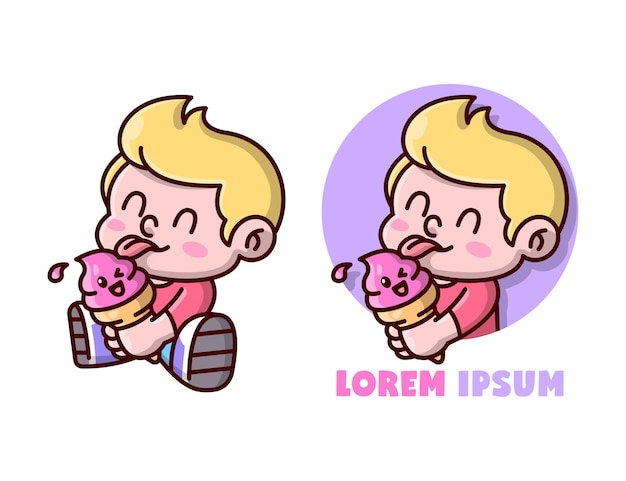 Cute blonde kid is licking a strawberry ice cream, mascot logo