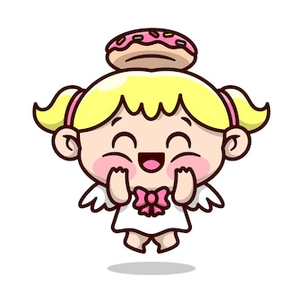 Cute blonde little angle with donut ring on her head feeling so happy and smiling cartoon character design