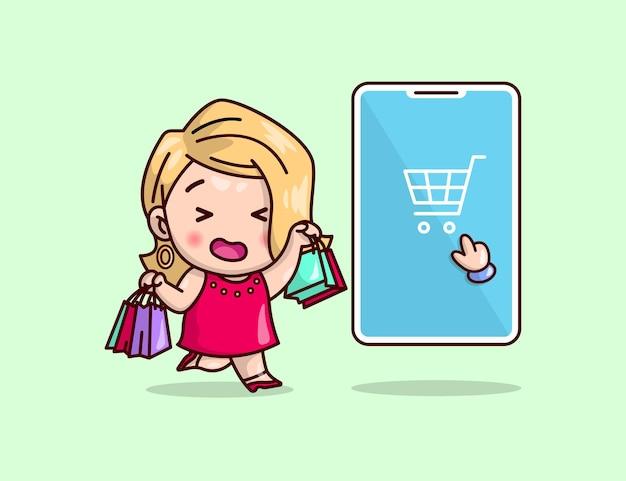 귀여운 금발 여성이 쇼핑 가방을 가져옵니다. 온라인 쇼핑 삽화.