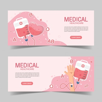 Cute blood donation elements banner background in flat style.