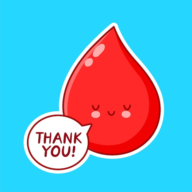Cute blood drop character isolated on blue