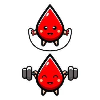 Cute blood drops doing exercises
