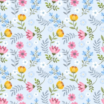 Cute blooming small flowers  seamless pattern.