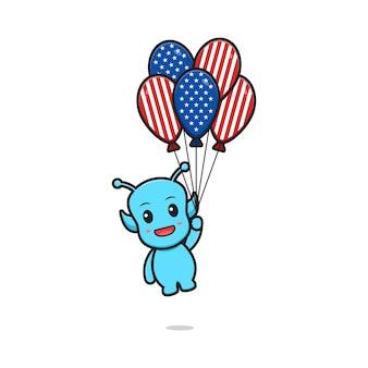 アメリカの国旗プリント風船イラストを保持しているかわいい青いエイリアンの漫画