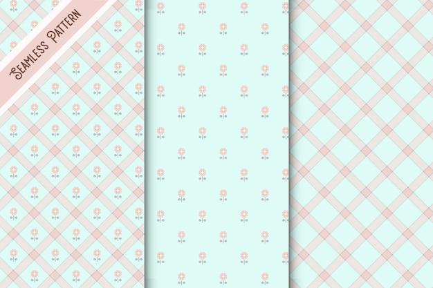 かわいい青とピンクの市松模様と花柄のシームレスなパターンセット