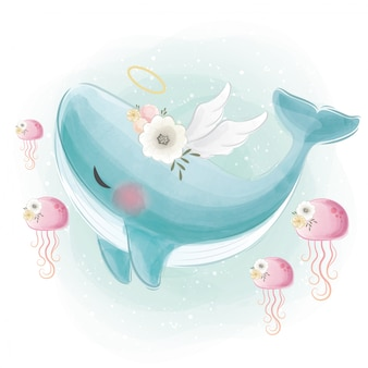 Cute blue angelic whale swimming with the jellyfishes