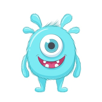 Cute blue baby monster