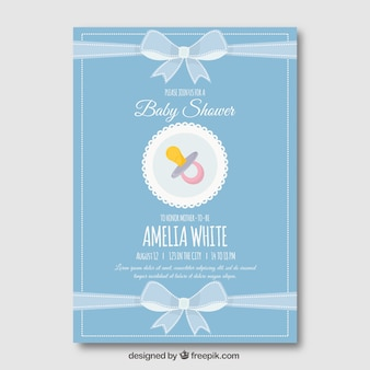 Cute blue baby shower template