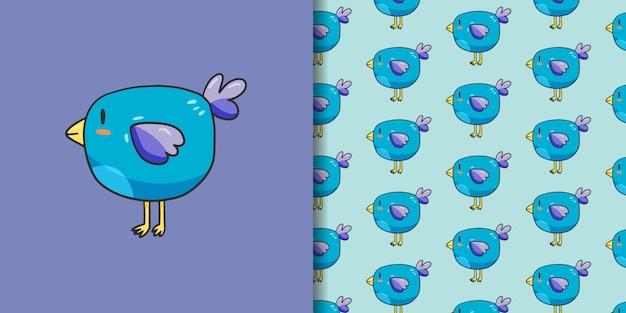Cute blue bird with seamless pattern