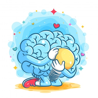 Cute blue brain hold the big yellow lamp of illustration