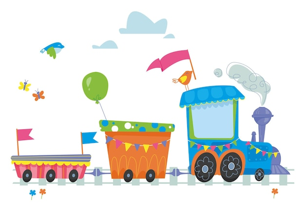 Cute blue cartoon steam locomotive decor for the holiday and birthday place for your text