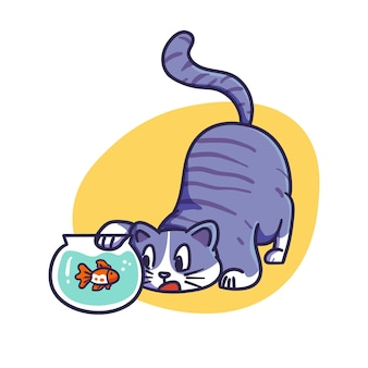 Cute blue cat playing with fish in bowl illustration