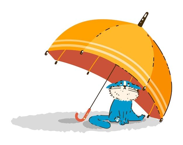 Милый голубой кот сидит под желтым зонтиком иллюстрация в мультяшном стиле
