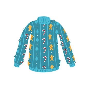 新年のパターンとかわいい青いクリスマスセーター