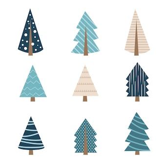 다른 모양 세트의 귀여운 블루 크리스마스 트리입니다. 인사말 카드 장식 또는 로고 디자인을 위한 크리스마스 트리 컬렉션입니다. 격리 된 평면 벡터