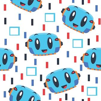 Cute blue cyborg pattern illustration