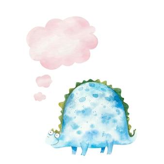 Милый синий динозавр улыбается и думает значок, облако, детская иллюстрация акварель