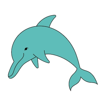 Cute blue dolphin in doodle style marine animal simple illustration isolated on white background