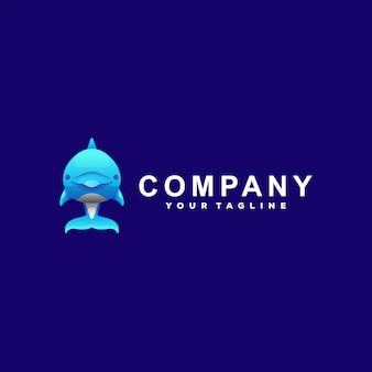 Cute blue dolphin logo design