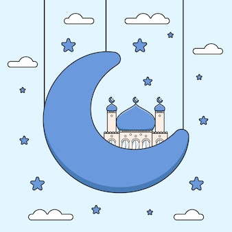Cute blue dome ramadan mosque on half crescent moon