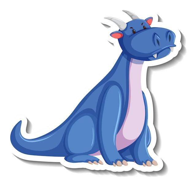 Cute blue dragon cartoon character sticker