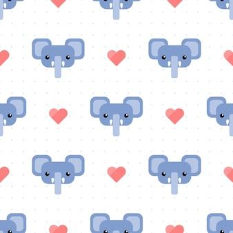心とドットのシームレスパターンとかわいい青い象