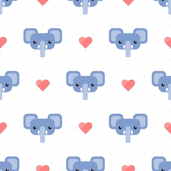 Cute blue elephant with heart and dot seamless pattern