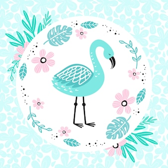 Cute blue flamingo on the floral background