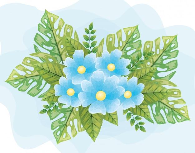 Simpatici fiori blu con foglie