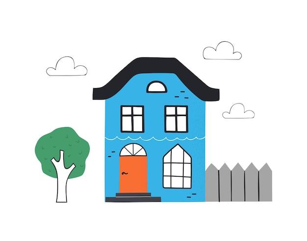 Милый синий дом с деревом. рисованной модные иллюстрации.