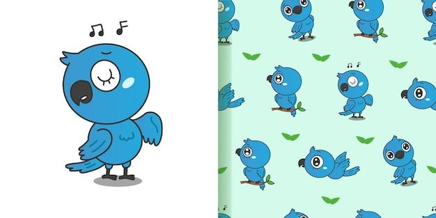かわいい青いコンゴウインコの漫画。シームレスなパターンの背景。
