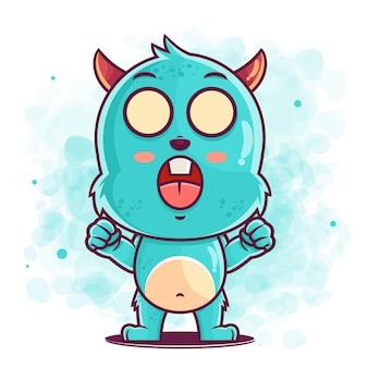 머천다이징에 대한 귀여운 블루 몬스터 만화 화가 그림