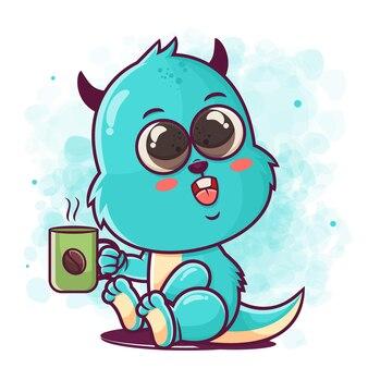 머천다이징을위한 귀여운 블루 몬스터 만화 마시는 커피 그림