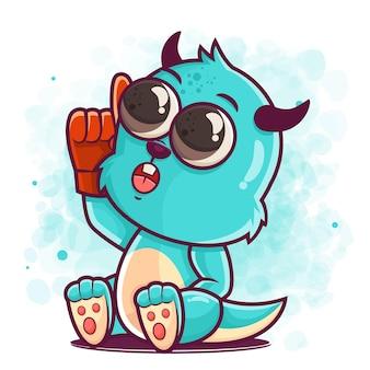 머천다이징에 대 한 귀여운 블루 몬스터 만화 재미 있은 그림