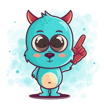 머천다이징에 대 한 그림을 가리키는 귀여운 블루 몬스터 만화 손